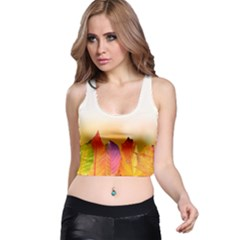 Autumn Leaves Colorful Fall Foliage Racer Back Crop Top
