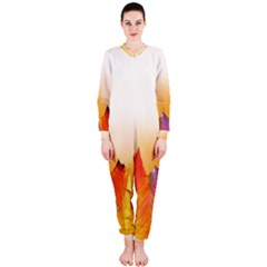 Autumn Leaves Colorful Fall Foliage Onepiece Jumpsuit (ladies)