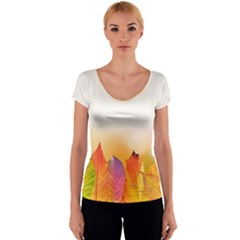 Autumn Leaves Colorful Fall Foliage Women s V-Neck Cap Sleeve Top