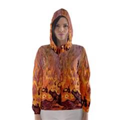 Background Texture Pattern Vintage Hooded Wind Breaker (women)