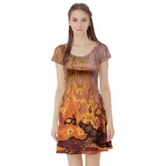Background Texture Pattern Vintage Short Sleeve Skater Dress