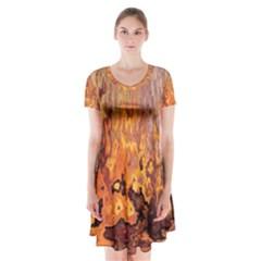Background Texture Pattern Vintage Short Sleeve V Neck Flare Dress