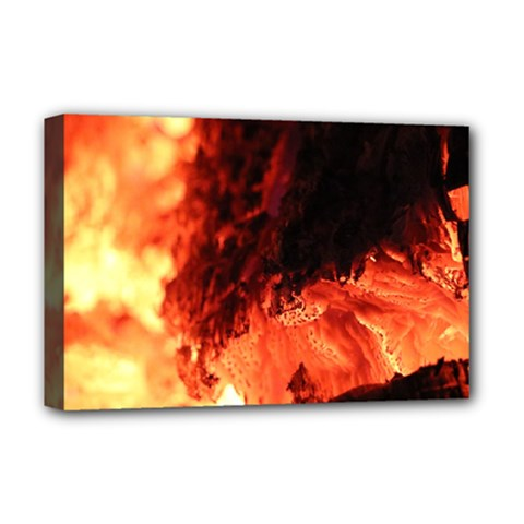 Fire Log Heat Texture Deluxe Canvas 18  X 12