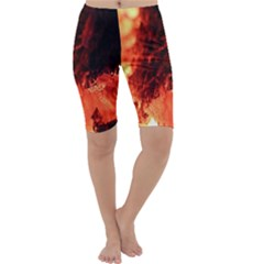 Fire Log Heat Texture Cropped Leggings