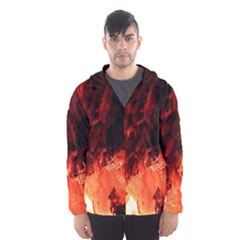 Fire Log Heat Texture Hooded Wind Breaker (men)