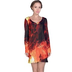 Fire Log Heat Texture Long Sleeve Nightdress