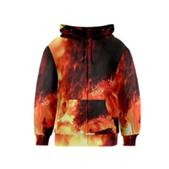 Fire Log Heat Texture Kids  Zipper Hoodie