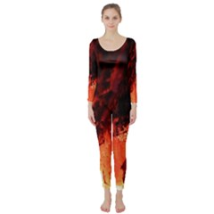 Fire Log Heat Texture Long Sleeve Catsuit