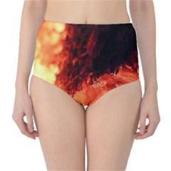 Fire Log Heat Texture High-Waist Bikini Bottoms