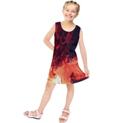 Fire Log Heat Texture Kids  Tunic Dress