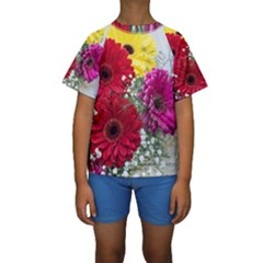 Flowers Gerbera Floral Spring Kids  Short Sleeve Swimwear