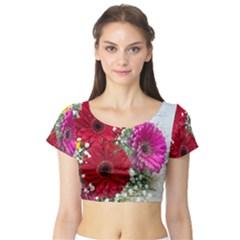 Flowers Gerbera Floral Spring Short Sleeve Crop Top (tight Fit)