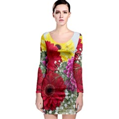 Flowers Gerbera Floral Spring Long Sleeve Bodycon Dress