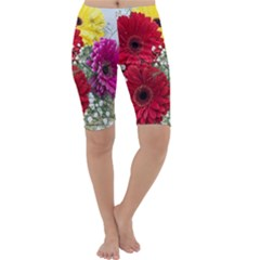Flowers Gerbera Floral Spring Cropped Leggings