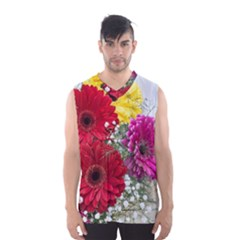 Flowers Gerbera Floral Spring Men s Basketball Tank Top