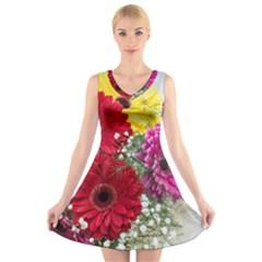 Flowers Gerbera Floral Spring V Neck Sleeveless Skater Dress