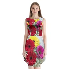 Flowers Gerbera Floral Spring Sleeveless Chiffon Dress