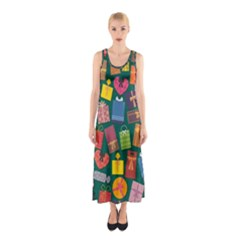 Presents Gifts Background Colorful Sleeveless Maxi Dress