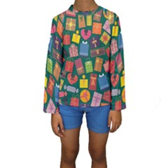 Presents Gifts Background Colorful Kids  Long Sleeve Swimwear