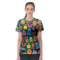 Presents Gifts Background Colorful Women s Sport Mesh Tee