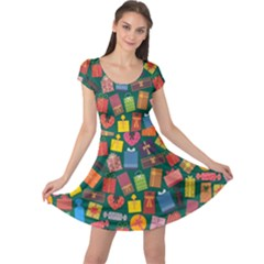 Presents Gifts Background Colorful Cap Sleeve Dresses
