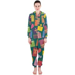 Presents Gifts Background Colorful Hooded Jumpsuit (ladies)