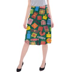Presents Gifts Background Colorful Midi Beach Skirt