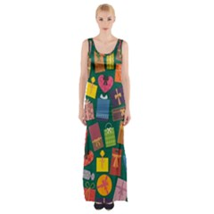 Presents Gifts Background Colorful Maxi Thigh Split Dress