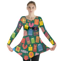 Presents Gifts Background Colorful Long Sleeve Tunic