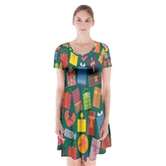 Presents Gifts Background Colorful Short Sleeve V-neck Flare Dress
