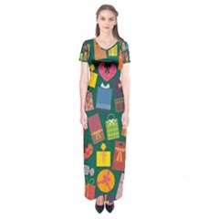 Presents Gifts Background Colorful Short Sleeve Maxi Dress
