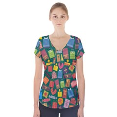 Presents Gifts Background Colorful Short Sleeve Front Detail Top