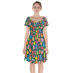 Presents Gifts Background Colorful Short Sleeve Bardot Dress