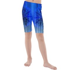 Background Christmas Star Kids  Mid Length Swim Shorts