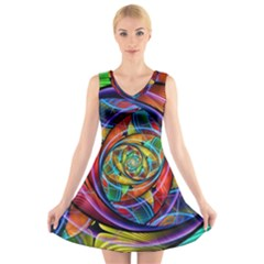 Eye of the Rainbow V-Neck Sleeveless Skater Dress