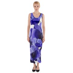 Poppy Blossom Bloom Summer Fitted Maxi Dress
