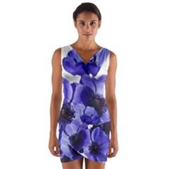 Poppy Blossom Bloom Summer Wrap Front Bodycon Dress