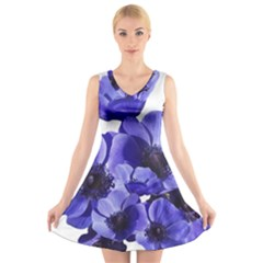 Poppy Blossom Bloom Summer V Neck Sleeveless Skater Dress