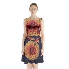 Art Beautiful Bloom Blossom Bright Sleeveless Waist Tie Chiffon Dress