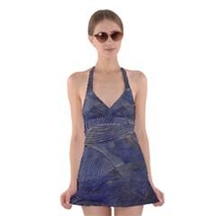 Textures Sea Blue Water Ocean Halter Swimsuit Dress