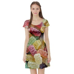 Jelly Beans Candy Sour Sweet Short Sleeve Skater Dress