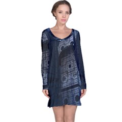 Graphic Design Background Long Sleeve Nightdress