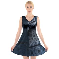 Graphic Design Background V Neck Sleeveless Skater Dress