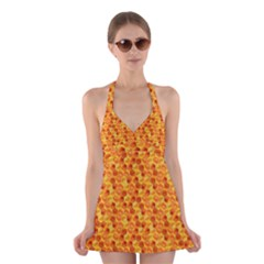 Honeycomb Pattern Honey Background Halter Swimsuit Dress