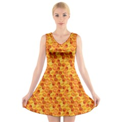 Honeycomb Pattern Honey Background V Neck Sleeveless Skater Dress