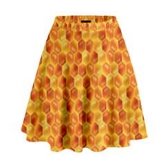 Honeycomb Pattern Honey Background High Waist Skirt