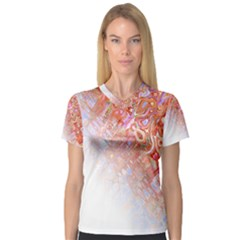 Effect Isolated Graphic Women s V Neck Sport Mesh Tee