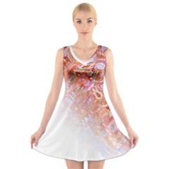 Effect Isolated Graphic V Neck Sleeveless Skater Dress