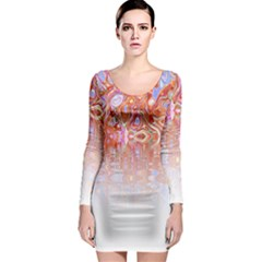 Effect Isolated Graphic Long Sleeve Bodycon Dress