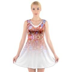 Effect Isolated Graphic V-Neck Sleeveless Skater Dress